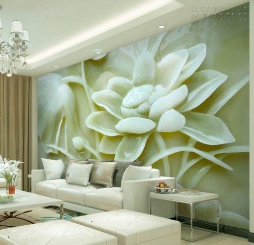 In tranh dán tường giả ngọc 3D Hoa Sen - NG49