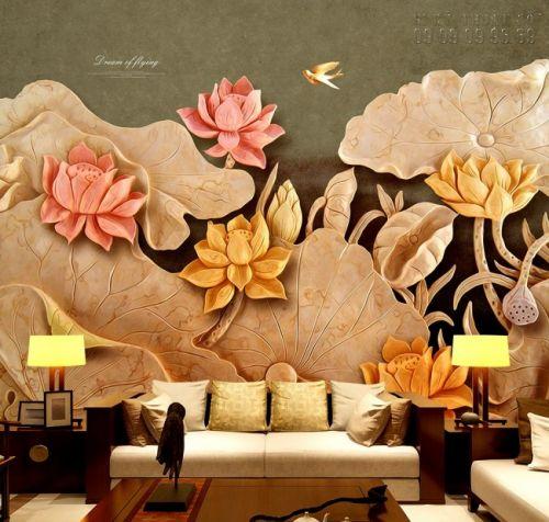 In tranh dán tường giả ngọc 3D Hoa Sen - NG45