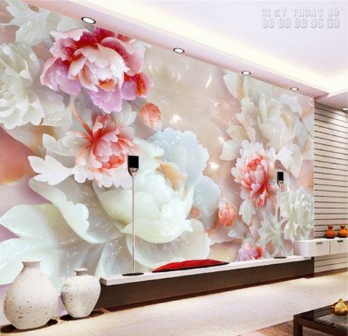 In tranh dán tường giả ngọc 3D Hoa Mẫu Đơn - NG37