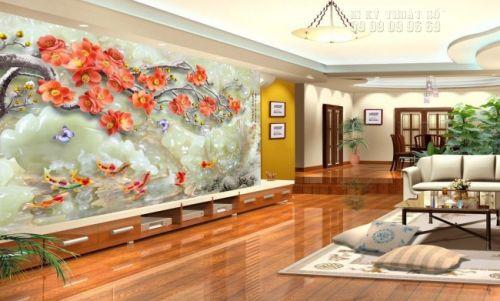 In tranh dán tường giả ngọc 3D Cá chép Hoa Đào - NG04