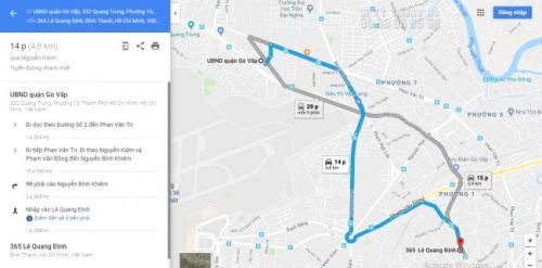 Bản đồ hướng dẫn đường đi từ quận Gò Vấp đến In Kỹ Thuật Số 365 Lê Quang Định