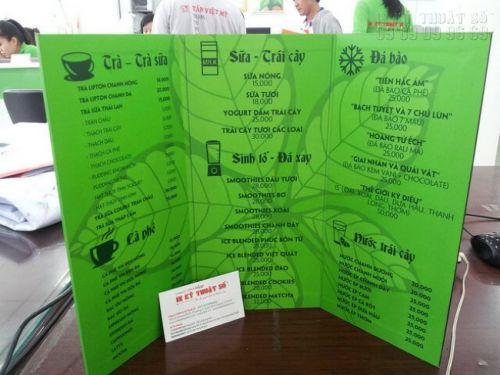 In menu cafe giá rẻ - In menu PP cán format