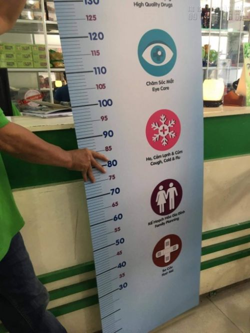 In PP bồi formex bảng đo chiều cao cho bé