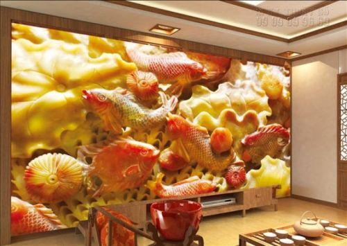 Giá tranh giả ngọc - cá chép hoa sen - NG11