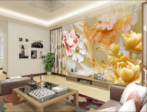 Tranh 3D giả ngọc TPHCM - cá chép hoa sen - NG19