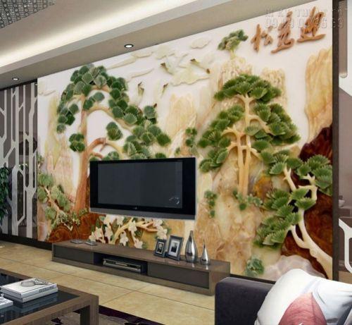 Tranh dán tường giả ngọc - cây tùng trường thọ - NG25