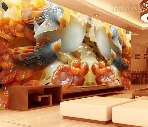 In tranh giả ngọc 3D khổ lớn - uyên ương hồ sen - NG67