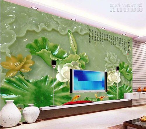 Mẫu in tranh ngọc 3D tại In Kỹ Thuật Số - cá chép hoa sen - NG15