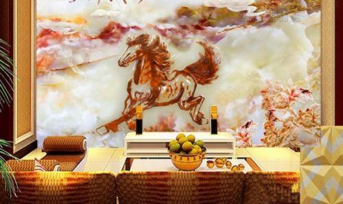 Mẫu in tranh dán tường giả ngọc - tranh ngựa 3D - Ma60