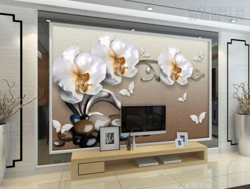 Giá tranh giả ngọc - in tranh giả ngọc - Hoa lan 3D - NG36