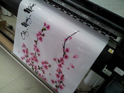 In sticker hoa đào dán kính trang trí Tết