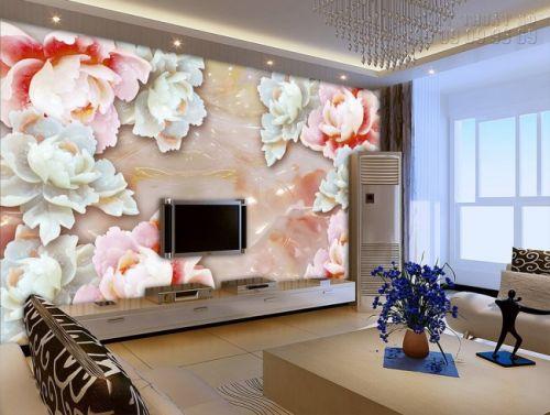 Tranh dán tường giả ngọc - tranh hoa mẫu đơn 3D - NG39
