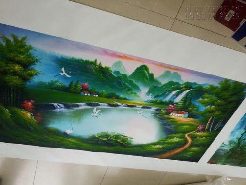 In tranh canvas hình núi non sông nước