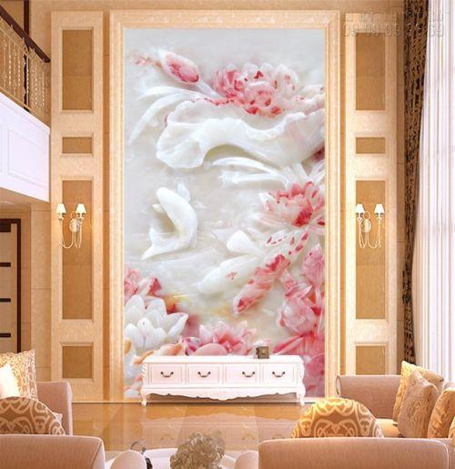Mẫu tranh dán tường 3D giả ngọc - tranh cá chép hoa sen - NG22