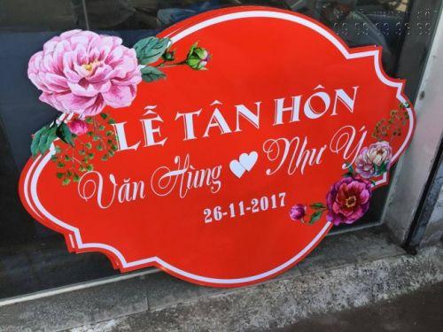 In PP cán format làm bảng lễ Tân Hôn trang trí trên background sân khấu đám cưới