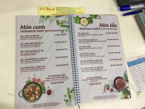 In menu quán ăn giá rẻ tại TPHCM - in menu nhựa đóng gáy lò xo