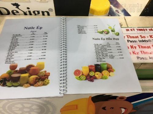 In menu quán ăn vặt - phần menu đồ uống, nước ép trái cây - in menu nhựa đóng gáy lò xo bọc nhựa