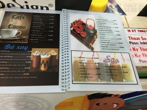 In menu quán cafe giá rẻ tại TPHCM - in menu nhựa đóng gáy lò xo