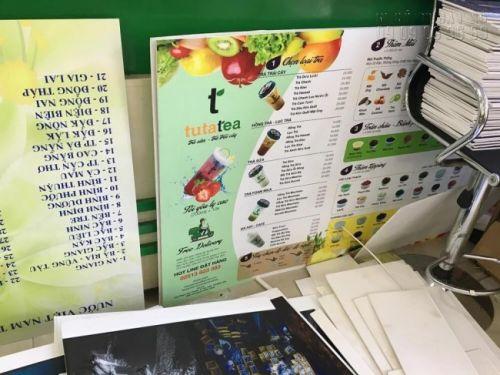 In menu PP bồi formex dạng tấm - in menu treo tường