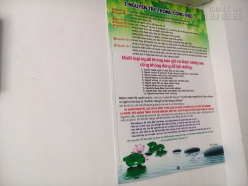 Chất liệu in poster dán tường xây - in PP cán màng bóng, cán format mặt sau - khổ lớn