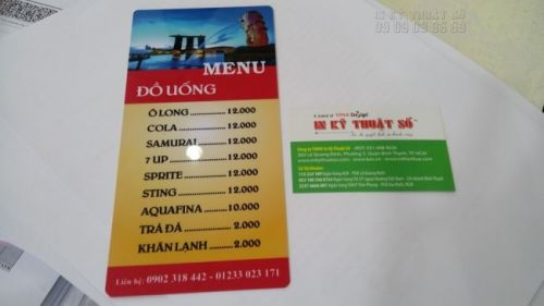 Mặt sau của menu nhựa PVC với menu đồ uống