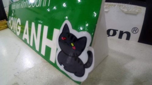 In decal sticker hình chú mèo đen đáng yêu - dịch vụ in decal sticker lẻ số lượng ít tại TPHCM