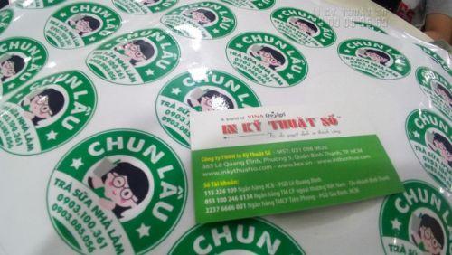 In decal sticker làm tem nhãn trà sữa nhà làm tại In Kỹ Thuật Số