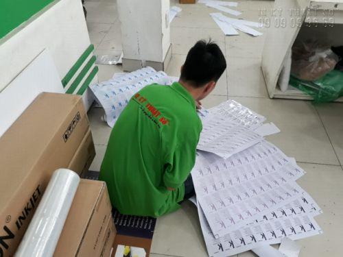 Nhân viên In Kỹ Thuật Số cắt thành phẩm in decal giấy khổ A3