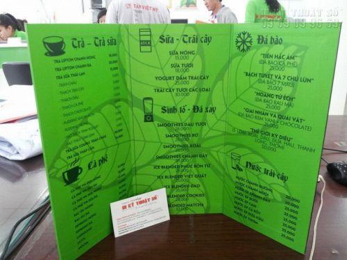 In menu từ in PP cán format