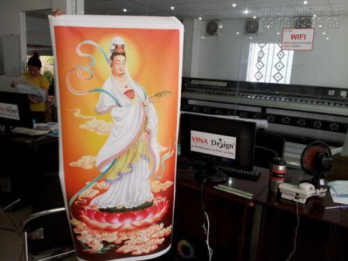 In Kỹ Thuật Số trực tiếp in tranh tượng Phật đẹp Tp HCM trên chất liệu vải silk