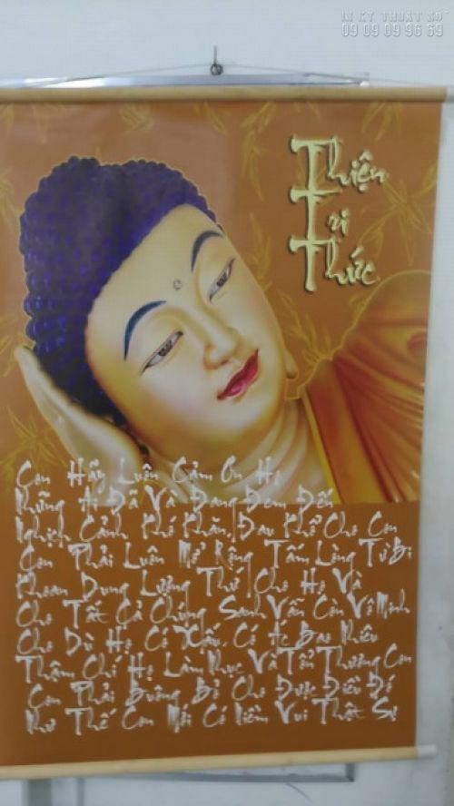 In tranh tượng Phật đẹp Tp HCM với chất liệu backlit film làm tranh nẹp mành sao 2 đầu treo tường tại In Kỹ Thuật Số