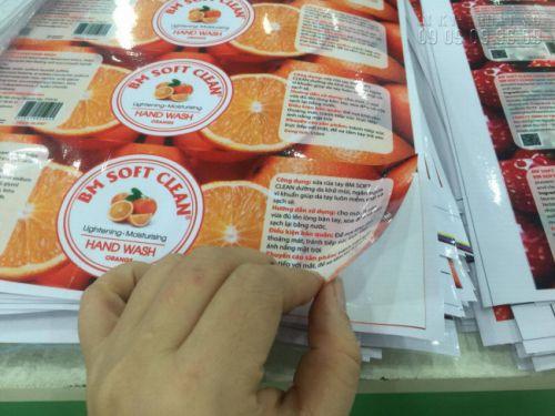 In tem nhãn Sửa rửa tay hương cam tại In Kỹ Thuật Số