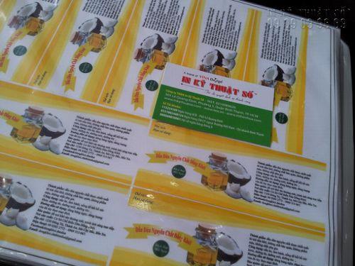 In tem nhãn mỹ phẩm - in tem nhãn tinh dầu dừa tại In Kỹ Thuật Số