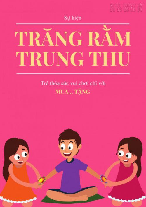 Mẫu poster Trung Thu dán cửa kính: Trăng Rằm Trung Thu