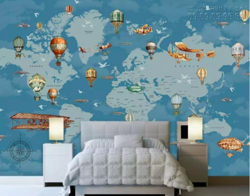 Nhận in decal dán tường TPHCM - decal dán tường bản đồ thế giới ( 17377214 )
