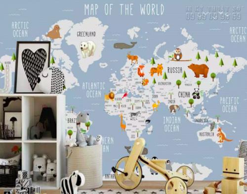 Nhận in decal dán tường TPHCM - decal dán tường bản đồ thế giới ( 17523483 )