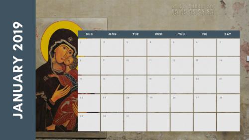 Mẫu in lịch Công giáo - mẫu lịch để bàn đơn giản