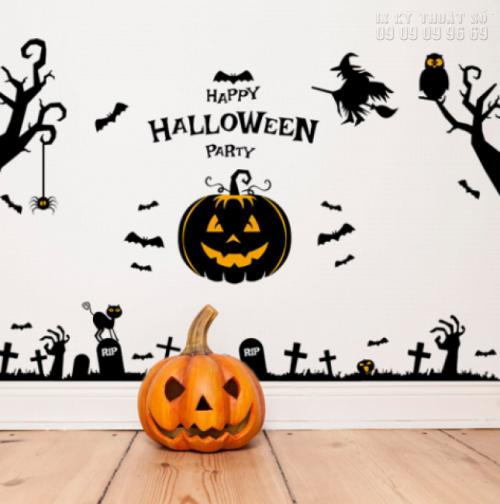 In decal trang trí Halloween cho lớp học - Lên mẫu, in decal dán tường số lượng ít 1