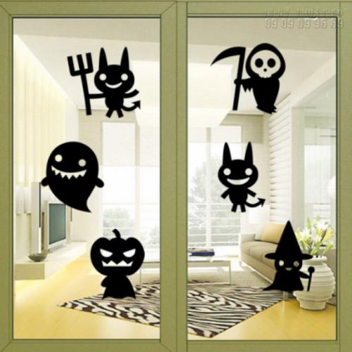 In decal trang trí Halloween cho lớp học - Lên mẫu, in decal dán tường số lượng ít 2