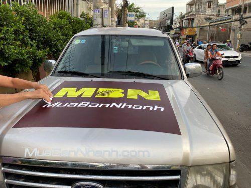 In decal quảng cáo xe ô tô và trên áo công ty MBN