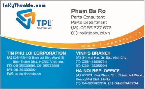 In Namecard bằng giấy couche cao cấp cho công ty Tín Phú Lợi, 435, Minh Trần, InKyThuatso.com, 09/08/2014 12:30:48