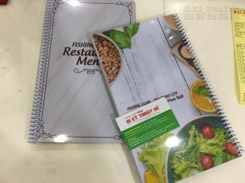 In menu bìa cứng giá rẻ tại TPHCM cùng In Kỹ Thuật Số - in menu bìa nhựa PVC bo tròn bốn góc, đóng gáy lò xo nhựa trắng