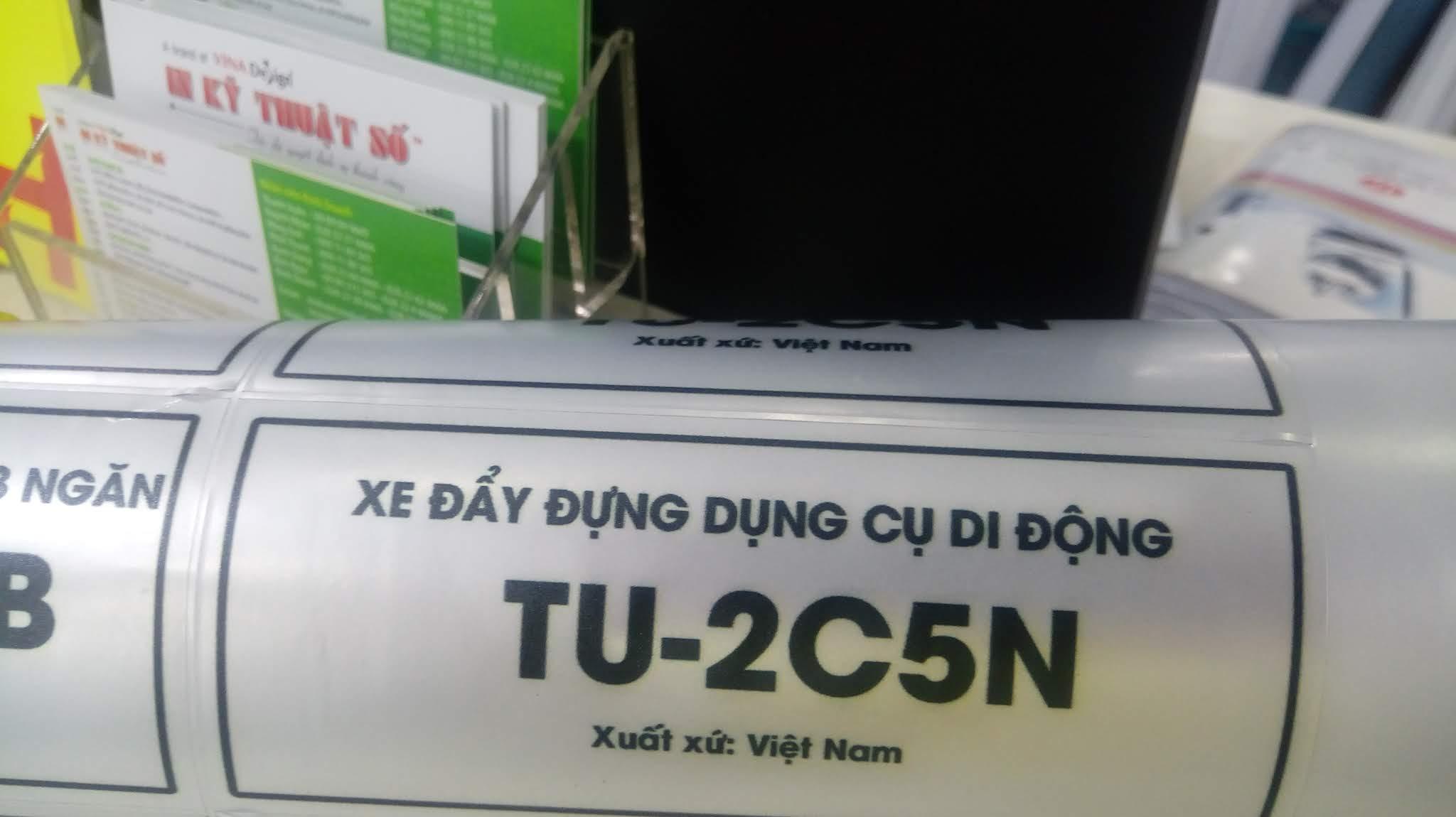 In tem bạc xe đẩy dụng cụ di động - xuất xứ Việt Nam