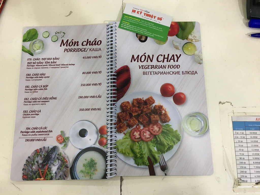 Mẫu menu quán ăn chay đẹp