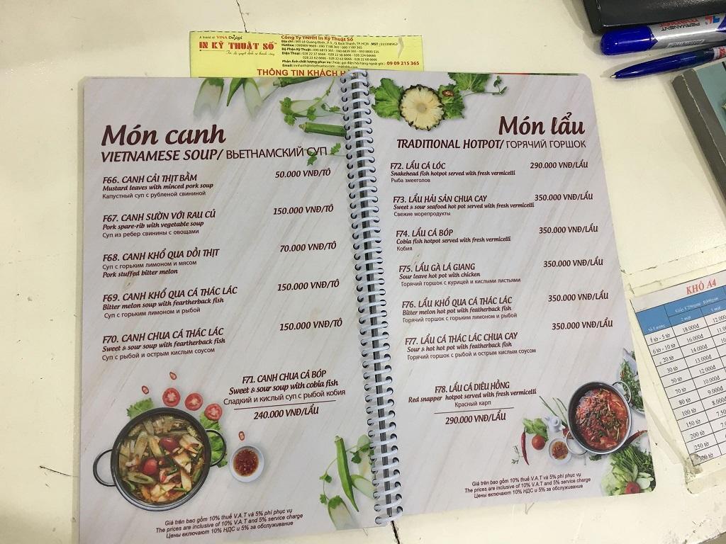 Quy cách in menu quán ăn cần biết trước khi in ấn