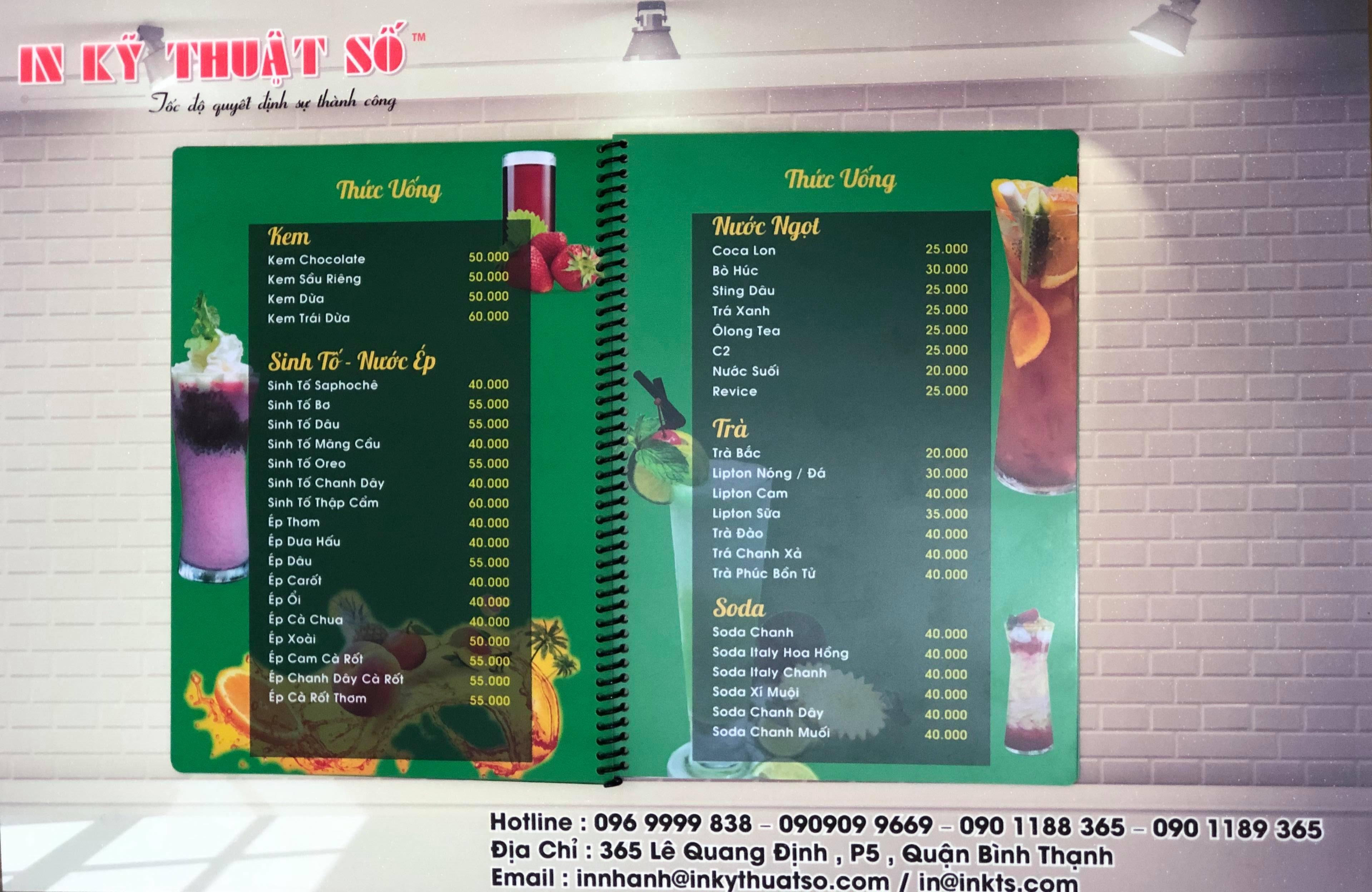 Cách tính giá in menu cafe tiết kiệm chi phí
