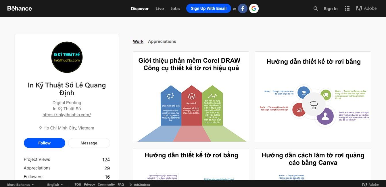 Behance - InKyThuatSo mang đến nhiều thông tin hữu ích, thú vị về in ấn