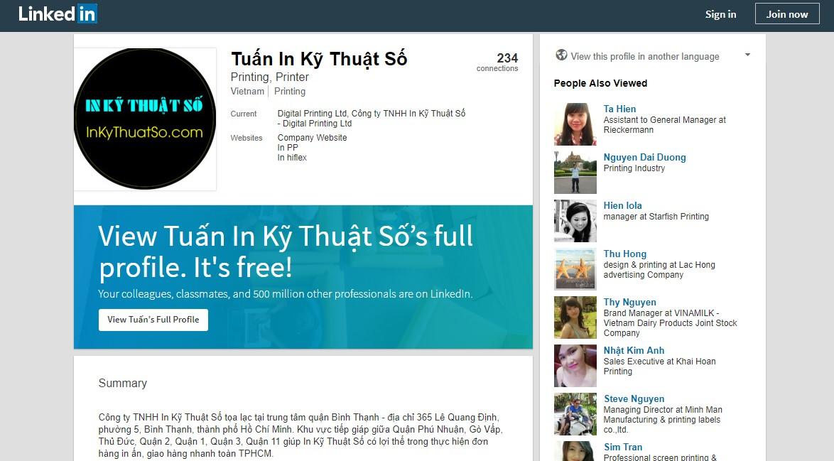Trang Linkedin của InKyThuatSo cung cấp nhiều thông tin hữu ích