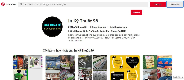 Trang Pinterest của InKyThuatSo đăng tải nhiều hình ảnh đẹp được in ấn bởi chính công ty