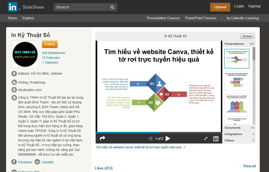 Trang Slideshare của InKyThuatSo chia sẻ nhiều thông tin bổ ích